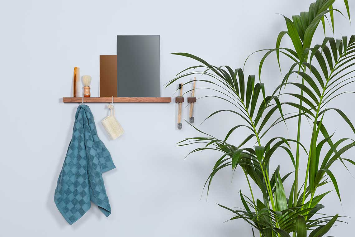Figr1 Wooden Wall Containers and Wall Shelf Jatoba with hooks